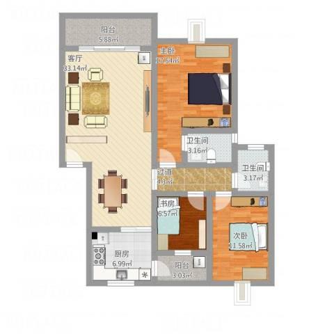 枫林绿洲3室1厅2卫1厨142.00㎡户型图