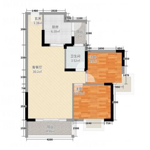 涉外国际公馆二期2室1厅1卫1厨95.00㎡户型图