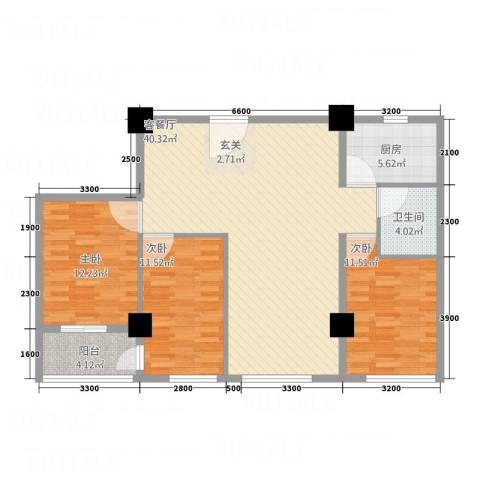 兴业中心(杏林兴业银行大厦)3室1厅1卫1厨136.00㎡户型图