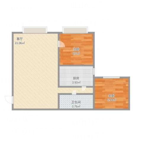 天通苑西三区2室1厅1卫1厨55.00㎡户型图