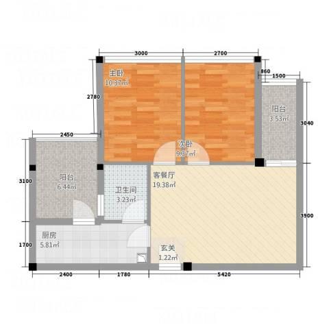 凯都国际2室1厅1卫1厨86.00㎡户型图