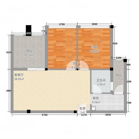 凯都国际2室1厅1卫0厨63.10㎡户型图