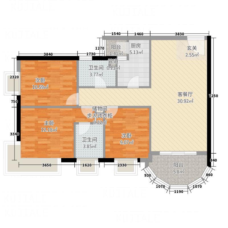 金宝怡庭117.60㎡新贵之旅户型3室2厅2卫1厨