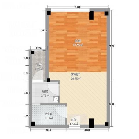 凯都国际1厅1卫1厨54.00㎡户型图
