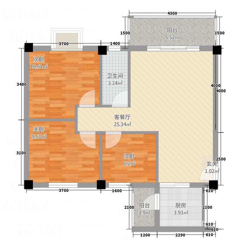 滨江名苑馨怡居202-602户型3室2厅2卫1厨