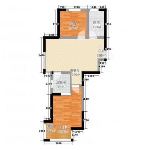 V街区2室1厅1卫1厨69.00㎡户型图