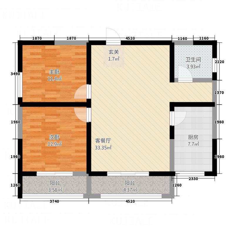 瑞沣苑111.52㎡B户型2室2厅1卫1厨