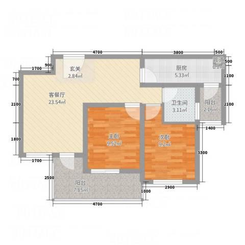 玉屏府2室1厅1卫1厨85.00㎡户型图