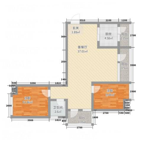 玉屏府2室1厅1卫1厨74.29㎡户型图
