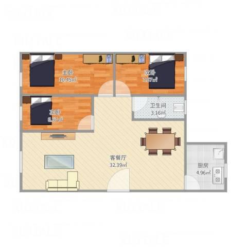 富达花园2室2厅1卫68平方3室1厅1卫1厨88.00㎡户型图