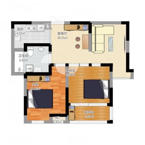 步阳御江金都1室1厅1卫1厨83.00㎡户型图