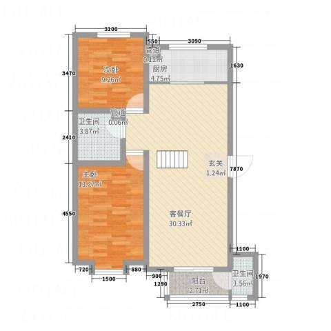博世花倾城二区2室1厅2卫1厨95.00㎡户型图