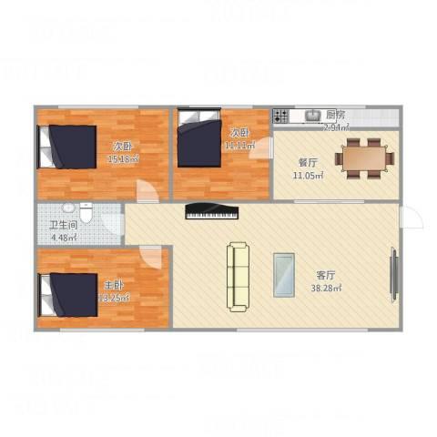香海花园3室2厅1卫1厨128.00㎡户型图