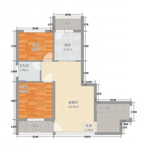 佳境天城2室1厅1卫1厨62.72㎡户型图