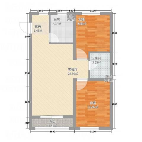 V街区2室1厅1卫1厨84.00㎡户型图