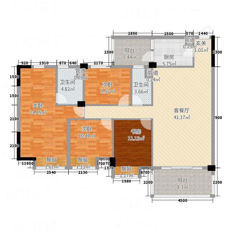 云浮碧桂园J135D户型4室2厅2卫1厨