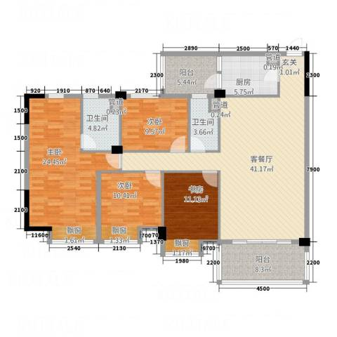 云浮碧桂园4室1厅2卫1厨175.00㎡户型图