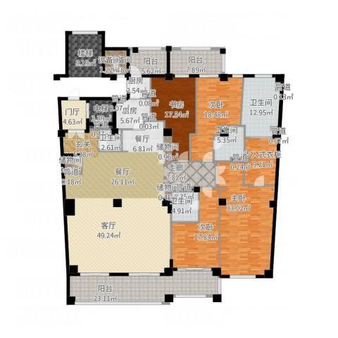 复地御西郊4室1厅4卫2厨388.00㎡户型图