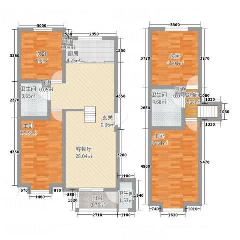 博世花倾城二区4室1厅3卫1厨139.00㎡户型图