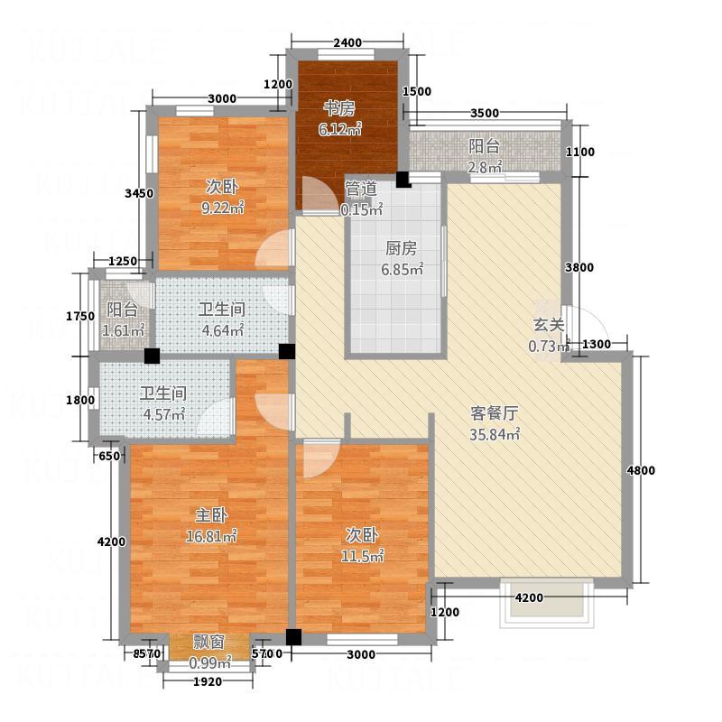 港城嘉苑户型4室2厅1卫1厨