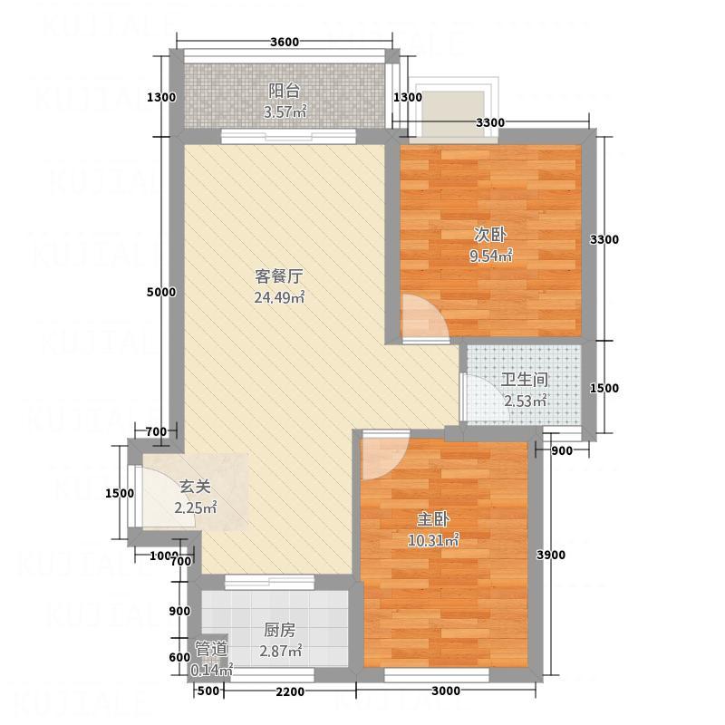 海翼左岸名都77.20㎡海翼・左岸名都2阳台户型2室2厅1卫1厨