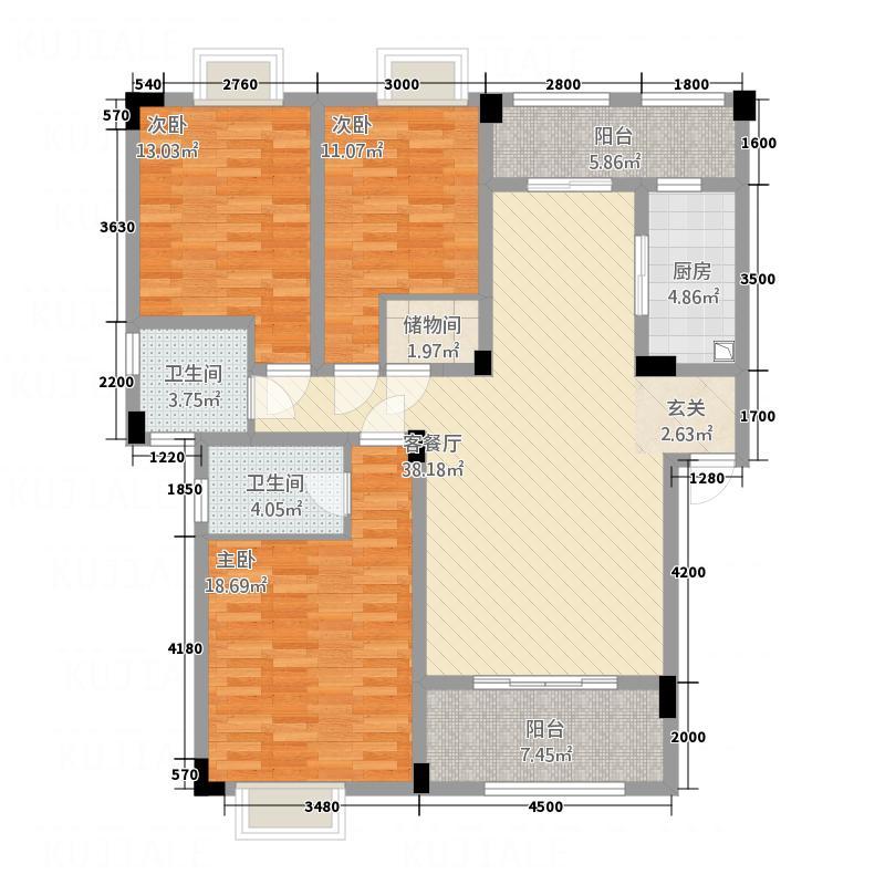 空间爱琴海128.20㎡空间爱琴海爱琴海B户型3室2厅2卫1厨