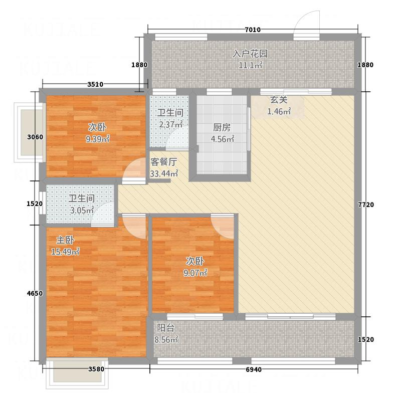 锦泰花苑12356116.00㎡1#2#3#5#6#标准层B户型3室2厅2卫