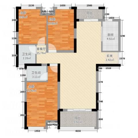 暨阳上河园二期3室1厅2卫1厨127.00㎡户型图