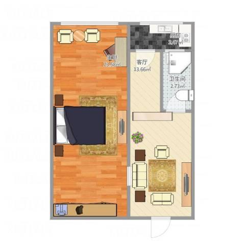 临平里1室1厅1卫1厨57.00㎡户型图