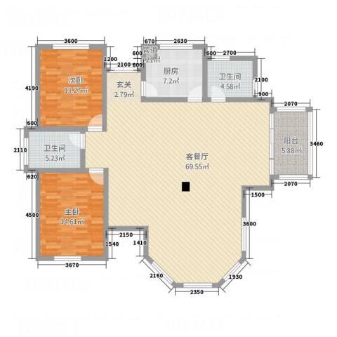 开元城2室1厅2卫1厨168.00㎡户型图
