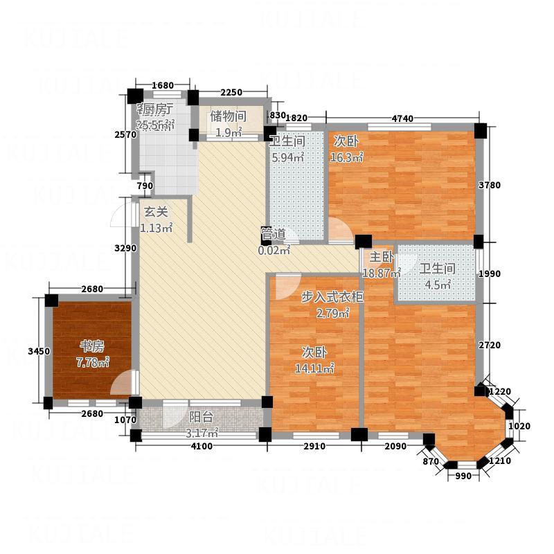 航宇西城15.80㎡2号楼A户型4室1厅2卫1厨