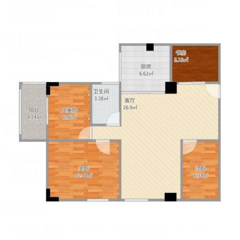 荔怡中心4室1厅1卫1厨98.00㎡户型图
