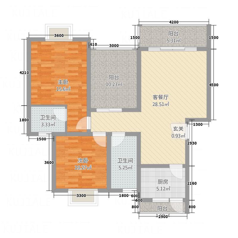 东方名苑1.14㎡B户型2室2厅1卫1厨