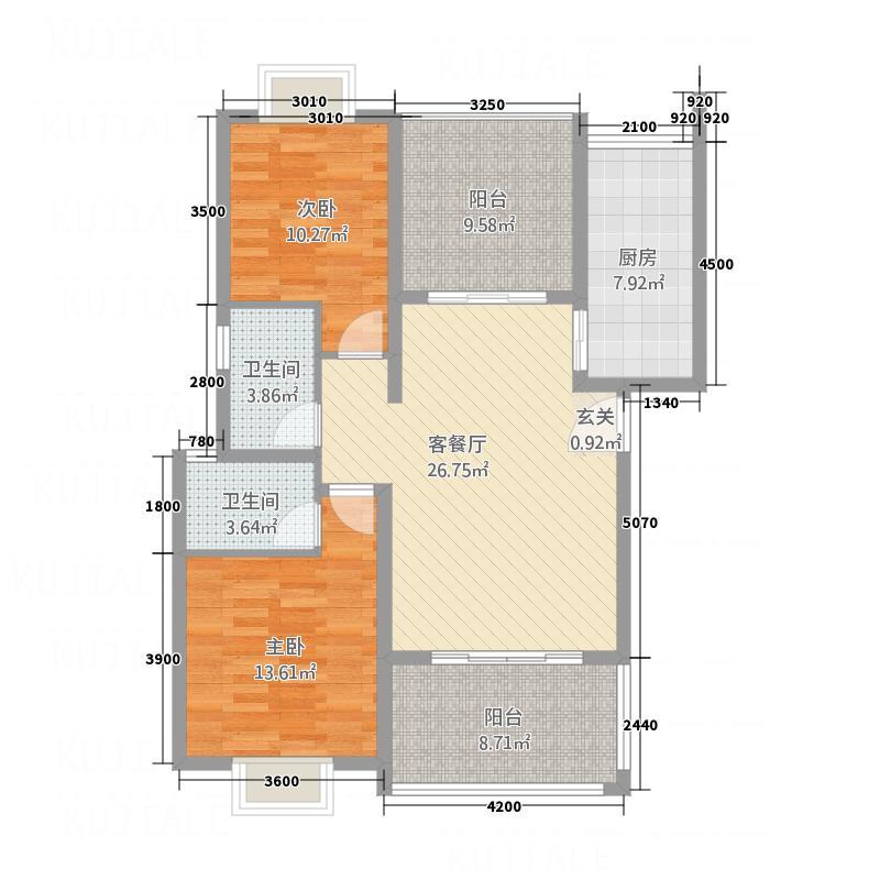 东方名苑6.36㎡C户型2室2厅2卫1厨