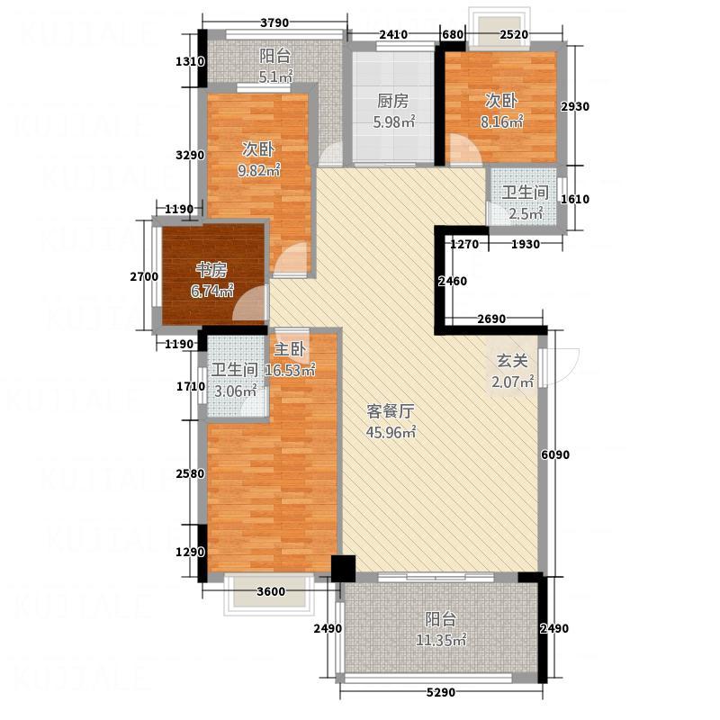 国际商品城三期尚东一品北区4栋04单元户型4室2厅2卫1厨