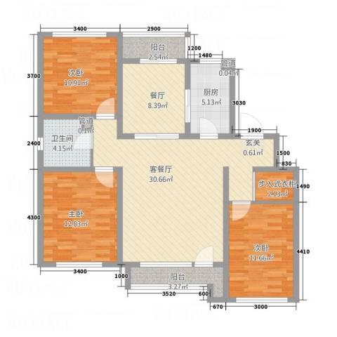 博圣・御府龙湾3室2厅1卫1厨113.00㎡户型图