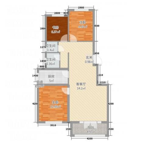 博圣・御府龙湾3室1厅2卫1厨109.00㎡户型图