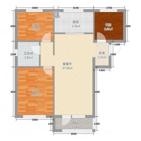 博圣・御府龙湾3室1厅1卫1厨86.00㎡户型图