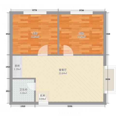 幸福里2室1厅1卫0厨49.99㎡户型图