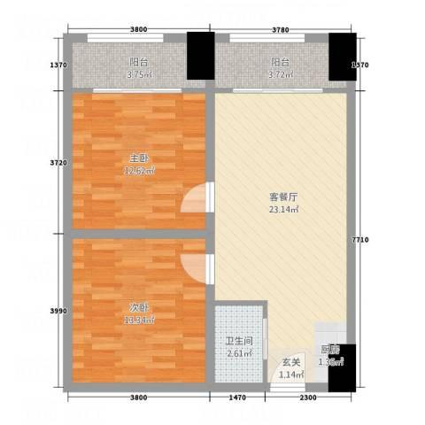 幸福里2室1厅1卫0厨86.00㎡户型图