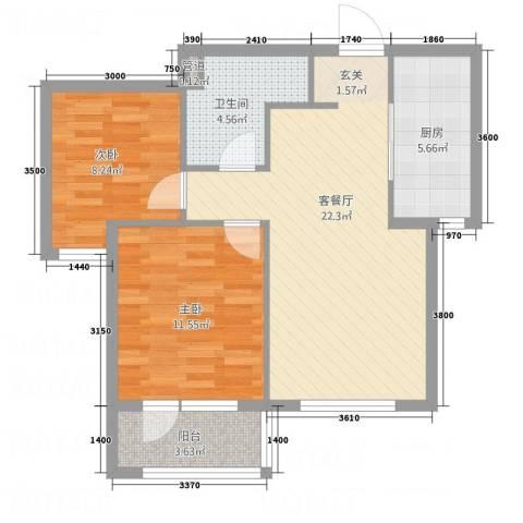 博圣・御府龙湾2室1厅1卫1厨72.00㎡户型图