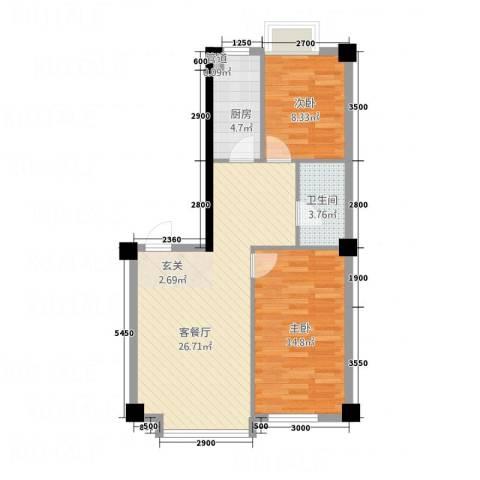 壹号公馆2室1厅1卫1厨86.00㎡户型图