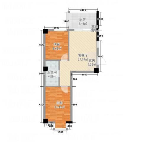 壹号公馆2室1厅1卫1厨48.65㎡户型图