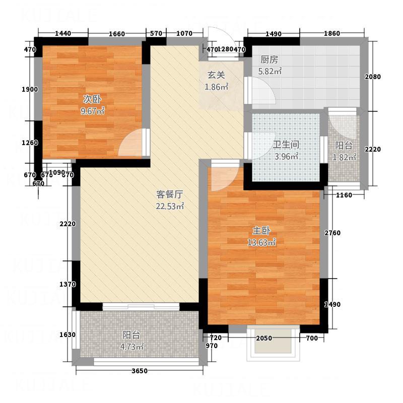有色・学府名都有色学府名都户型2室2厅1卫1厨