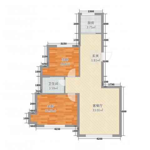 双水湾2室1厅1卫1厨88.00㎡户型图