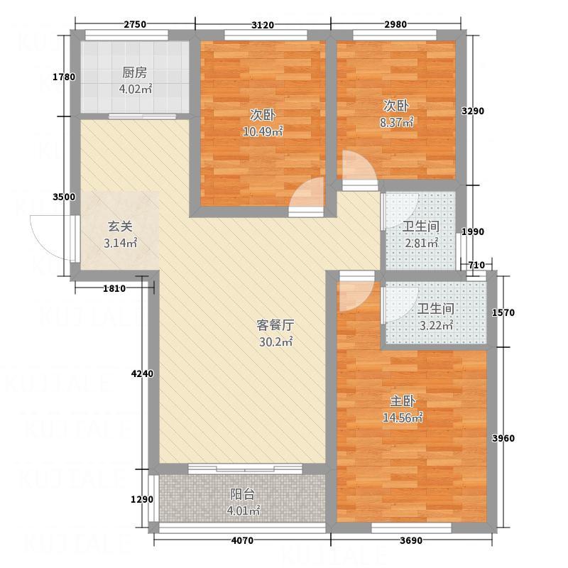 荣基春城112.00㎡4户型3室2厅2卫1厨