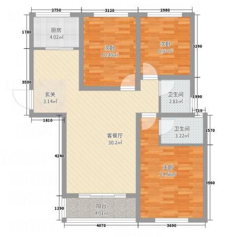 荣基春城3室1厅2卫1厨112.00㎡户型图