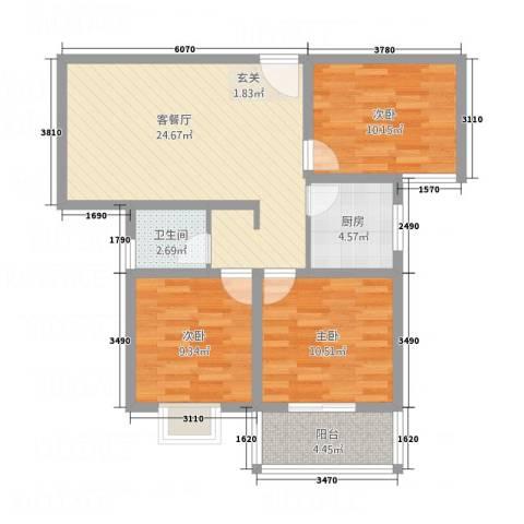 荣基春城3室1厅1卫1厨66.38㎡户型图