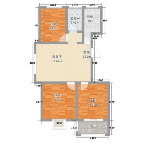 荣基春城3室1厅1卫1厨71.51㎡户型图