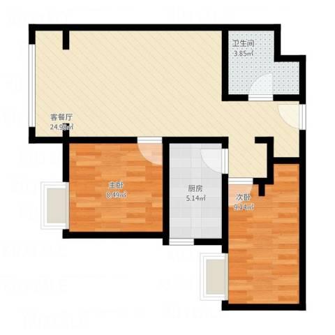中建国际港12室1厅1卫1厨74.00㎡户型图